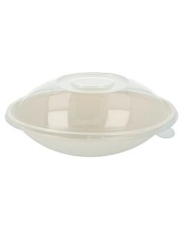 oval bowls + lids 'bionic' 22x13,5x5,5+4,5 cm white bagasse (100 unit)