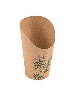 vasos fritas abiertos 'feel green' 16 oz - 480 ml 200 + 25pe g/m2 Ø8,5x13,5 cm marrÓn cartoncillo (50 unid.)