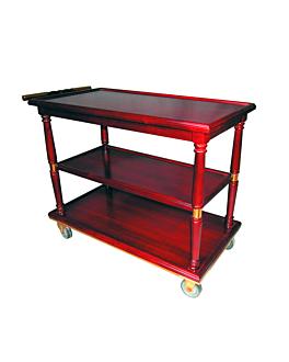 classic service trolley 90x50x82 cm reddish brown wood (1 unit)