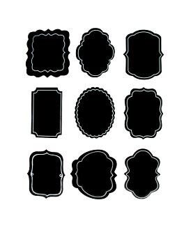 2 hojas (18 u.) etiquetas formas surtidas  negro vinilo (12 unid.)