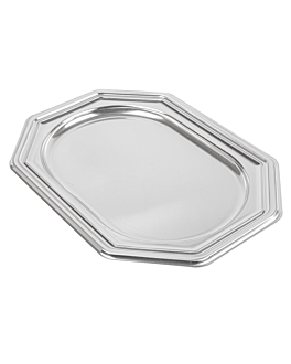 deluxe octogonal trays 19,5x27 cm silver pet (5 unit)