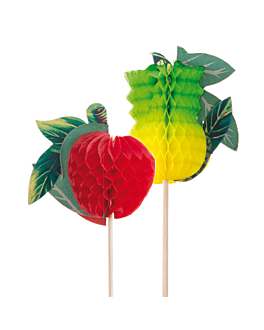 decorazioni per gelati - frutta grandi 20 (h) cm colori varie legno (100 unitÀ)