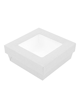 small boxes+lids w/window 500 ml 270 + 18 pe gsm 12x12x5 cm white cardboard (250 unit)