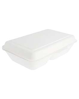 caixas 2 compart. 'bionic' 1 l 16,5x22,5x6,4 cm branco bagaÇo (500 unidade)