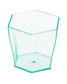 sechseckiges glas fÜr vorspeisen 60 ml 4,7x4,6 cm wassergrÜn ps (864 einheit)