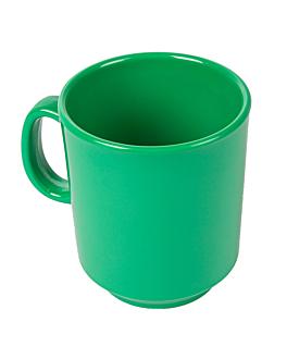 coffee mugs 240 ml Ø 8x9 cm green melamine (12 unit)