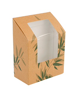 """tortilla"" boxes with window 'feel green' 300 gsm 9,2x5,1x9,2/12,5 cm brown cardboard (100 unit)"