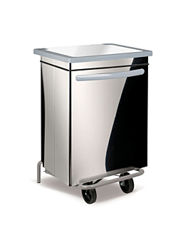 mobile push pedal container 70 l 47x42x73 cm silver stainless steel (1 unit)