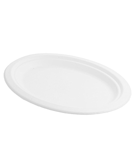 oval trays 'bionic' 26,3x19,9x2 cm white bagasse (600 unit)