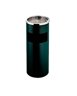papelera/cenicero, cilÍndrica Ø 25x61 cm negro acero (1 unid.)