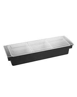 condiment container 3 compart. 49,5x15,7x9 cm black ps (1 unit)