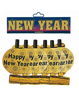 """6 langues de belle-mere """"happy new year"""" 34x3 cm dore (24 unitÉ)"""