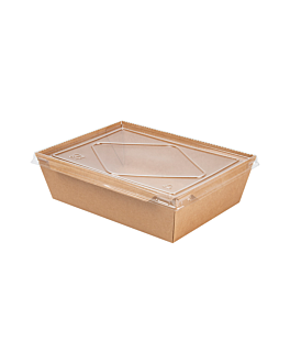 combo recipientes + tapas pet 2100 ml 300 +20 pe g/m2 22x16,4x6,5 cm natural kraft (200 unid.)