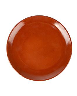 assiettes en faÏence Ø 23x2,7 cm marron rougeatre ceramique (12 unitÉ)