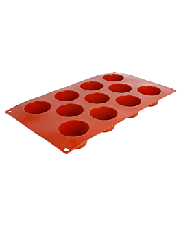 mould muffin Ø5,1x2,8 cm 17,5x30 cm red silicone (1 unit)
