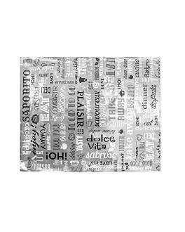wrapping paper for burger 'parole' 35+20 gsm 28x34 cm silver parchment+aluminium (1000 unit)