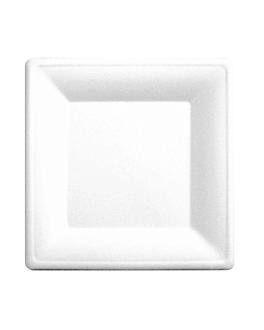 platos cuadrados 'bionic' 20x20x1 cm blanco bagazo (500 unid.)