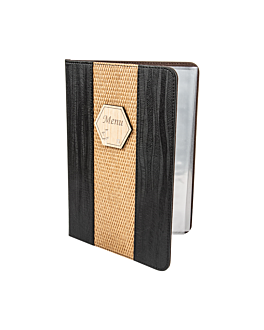 porte menu 8 pochettes din-a4 22x31 cm noir pvc (1 unitÉ)