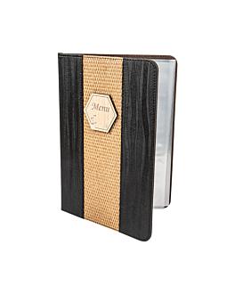 menu card 8 sleeves din-a4 22x31 cm black pvc (1 unit)