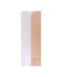 sandwich bags with eco window 'corner window' 40 gsm 14+8x38 cm natural kraft (250 unit)