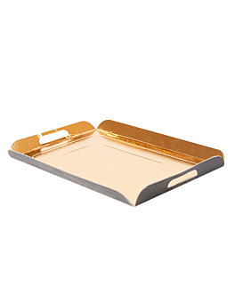 trays with handles 750 gsm 19x28 cm gold/black cardboard (100 unit)