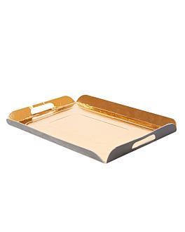 plateaux avec anses 750 g/m2 19x28 cm or/noir carton (100 unitÉ)