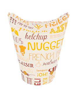 vasos fritas con cierre 'parole' 16 oz - 480 ml 220 + 18pe g/m2 8,5x14 cm blanco cartoncillo (50 unid.)