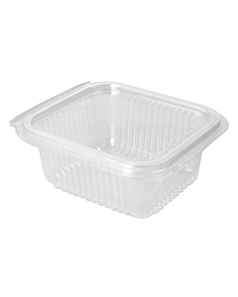 salad container with hinged lid 500 ml 13,5x12,5x5,6 cm clear pla (600 unit)