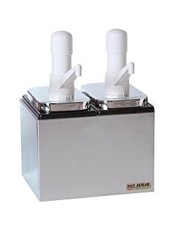 dispenser per condimento 2 pompe 2x2,36l 24,7x19,6x32 cm argento acciaio inox (1 unitÀ)