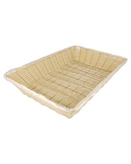 cestas sÍmil mimbre rectangulares 41x28,7x8 cm natural pp (12 unid.)