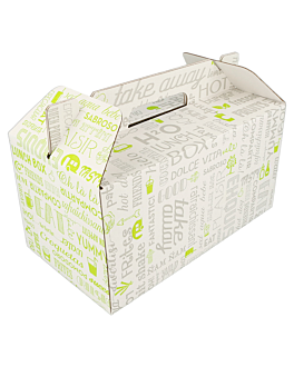 cases for take away meals - picnic 'parole' 24,5x13,5x12 cm white cardboard (100 unit)