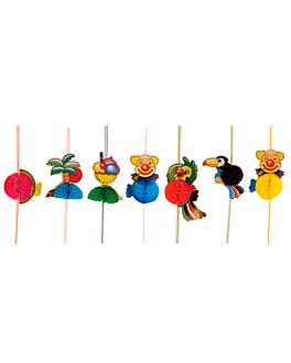 cannucce pieghevoli 'tropicana' 23 cm colori varie pp (100 unitÀ)