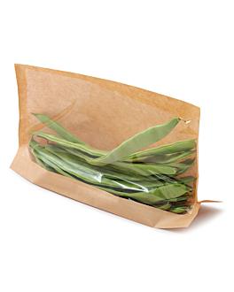 sacs avec base et fenÊtre 'kangoo pack' 40 g/m2 + 15 pp 21x16/12x3 cm naturel kraft (100 unitÉ)