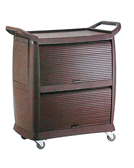 open 2 sided lock trolley 98x46x105 cm brown abs (1 unit)