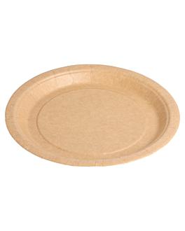 round bio-lacquered plates 260 gsm Ø 18 cm natural cardboard (400 unit)