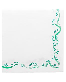 tovallons ecolabel 'double point - floralia' 18 g/m2 40x40 cm blanc tissue (1200 unitat)