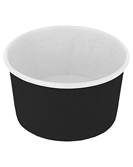 ice-cream tubs 180 ml 250 + 18pe gsm Ø 8,7x5,2 cm black cardboard (2000 unit)