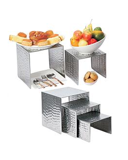 3 u. elevatori buffet 15/18/20 cm argento acciaio inox (1 unitÀ)