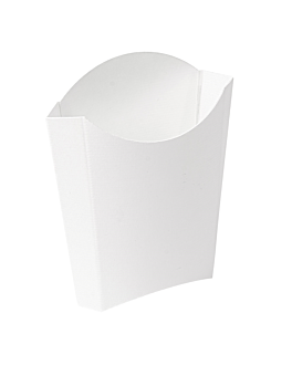 chip boxes jumbo 'thepack' 165 g 230 gsm 13,5x8,5x16 cm white nano-micro corrugated cardboard (1200 unit)