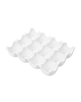 """plateaux """"12 oeufs"""" 19,1x14x3,5 cm blanc porcelaine (6 unitÉ)"""