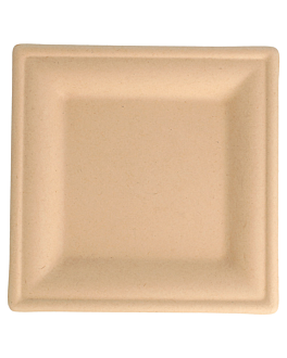 square plates 'bionic' 16x16x1 cm natural bagasse (1000 unit)