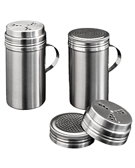 salt shaker with handle 450 ml Ø 7x13,2 cm silver stainless steel (1 unit)