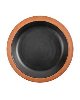 piatti 550 ml Ø22,9x3 cm nero melamina (12 unitÀ)