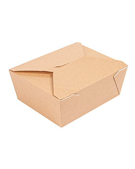 microwavable boxes rectangular 'thepack' 1350 ml 220 + 12pp gsm 15,2x12,1x6,5 cm natural nano-micro corrugated cardboard (300 unit)