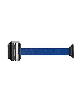 barrera retrÁctil de pared cinta 200 cm  azul aluminio (1 unid.)
