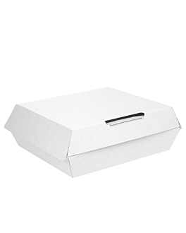 large lunch box 'thepack' 240 gsm 23,5x24x8,7 cm white nano-micro corrugated cardboard (150 unit)