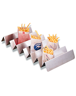 rack for french fries bags 47x25x5,5 cm silver stainless steel (1 unit)