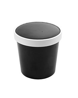 containers + lids 780 ml 18pe + 340 + 18 pe gsm Ø11,7/9,2x11 cm black cardboard (250 unit)