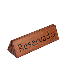 "table signs ""reservado/reserved"" 15x4,4x4,4 cm wood (10 unit)"