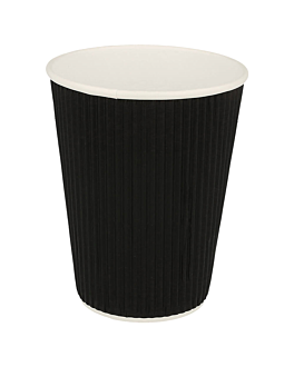 double wall corrugated cups for hot drinks 360 ml 300 + 250 + 18 pe g/m2 Ø9/6x11 cm black cardboard (1000 unit)